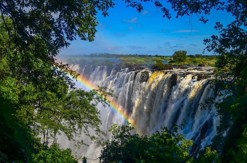 Victoria Falls avec un arc-en-ciel image libre de droits