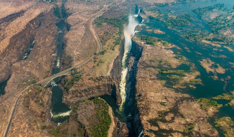 Victoria Falls bij droogte, luchtschot stock fotografie
