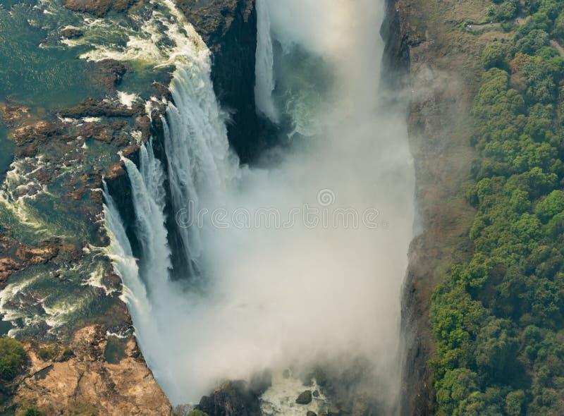 Victoria Falls bij droogte, luchtschot royalty-vrije stock foto