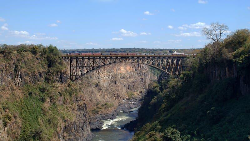 Victoria falls bridge from Zambia royalty free stock photo