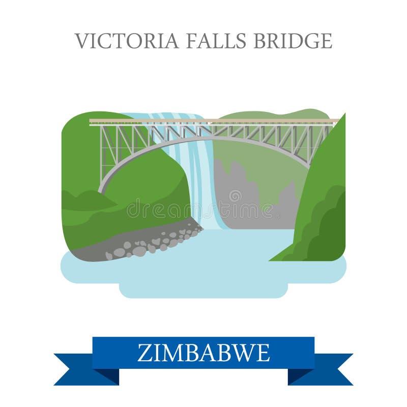 Victoria Falls Bridge Zimbabwe Flat historisk vecto stock illustrationer
