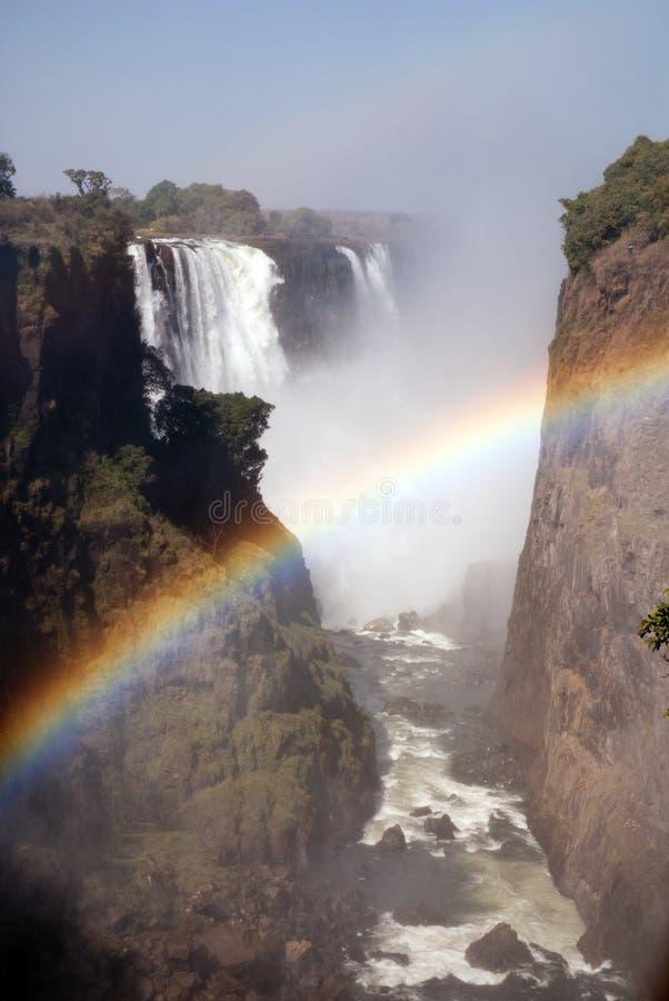 Victoria Falls con el arco iris, Zimbabwe imágenes de archivo libres de regalías