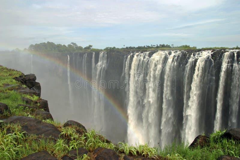 Victoria Falls con il Rainbow fotografia stock