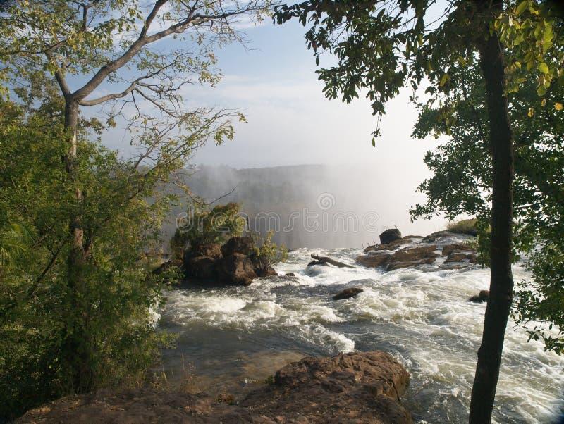Victoria Falls, der Anfang lizenzfreie stockbilder