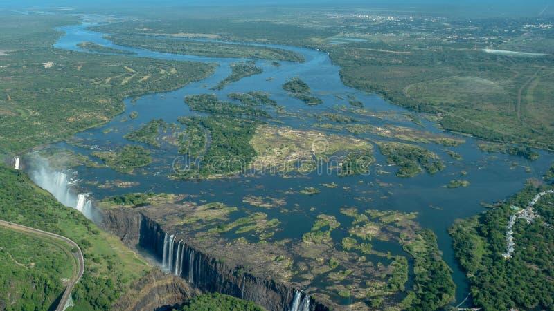 Victoria Falls do ar, Zimbabwe foto de stock