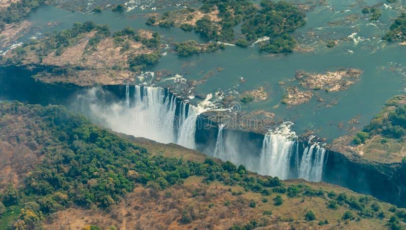 Victoria Falls en la sequía, tiro aéreo fotos de archivo