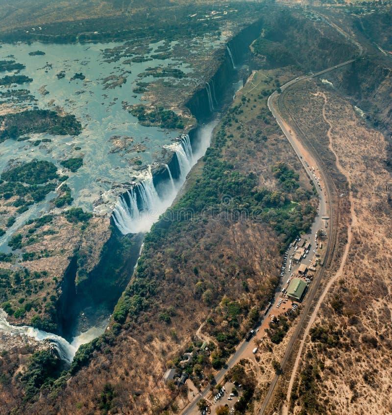 Victoria Falls en Zimbabwe en la sequía, tiro aéreo imagen de archivo