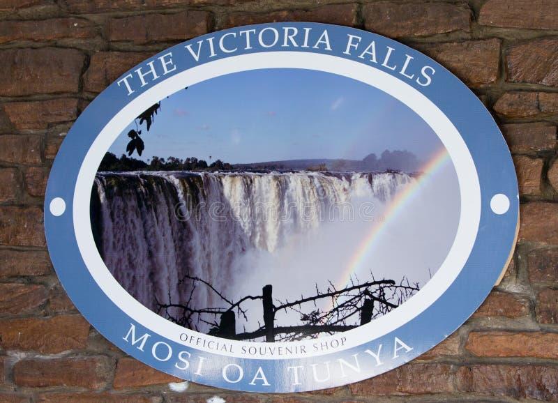 Victoria Falls Entrance Signage royaltyfri foto