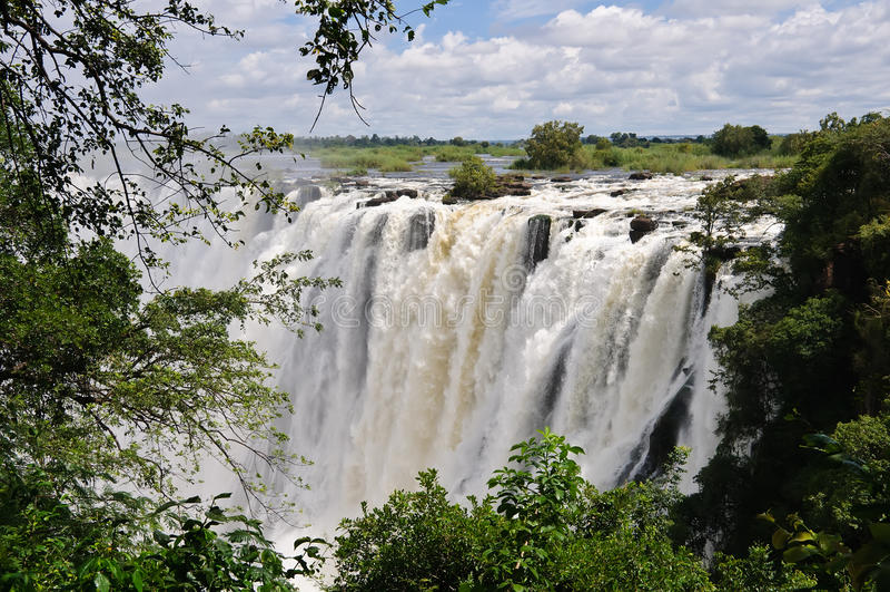 Victoria Falls, fleuve de Zambezi, Afrique images libres de droits