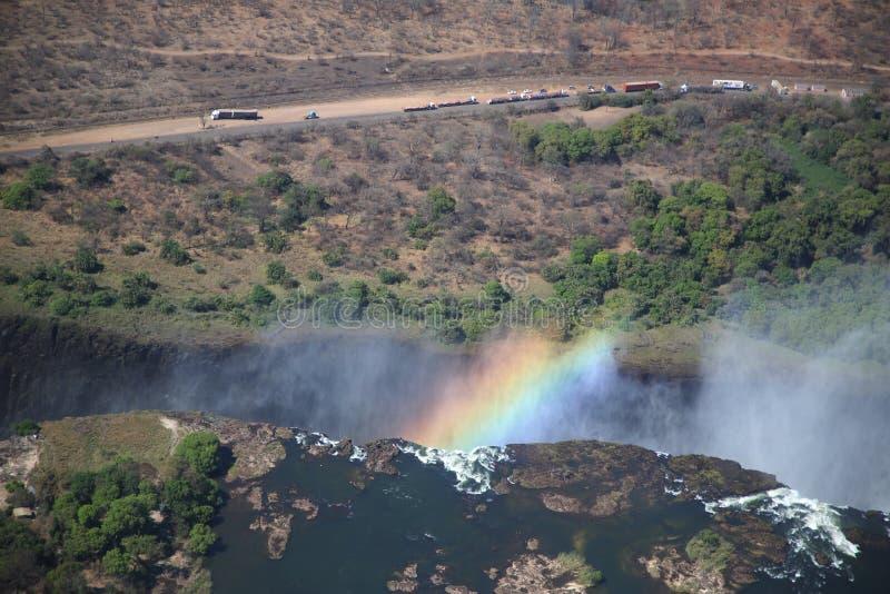 Victoria Falls flyg- sikt royaltyfri bild