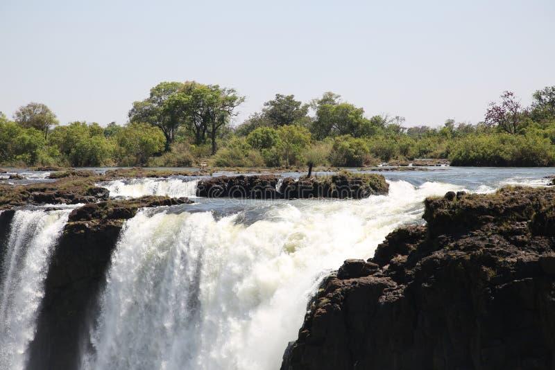 Victoria Falls jordsikt från den Zimbabwe sidan fotografering för bildbyråer