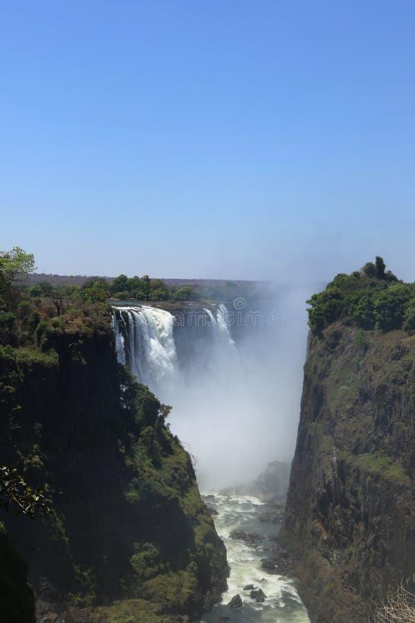 Victoria Falls jordsikt från den Zimbabwe sidan arkivbilder