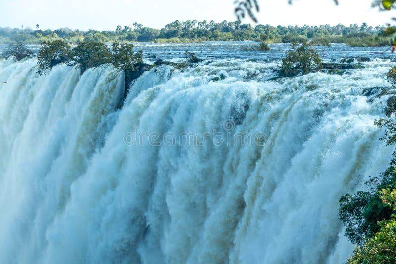 Victoria Falls Livingstone Zambia - Wereldnatuurlijk erfgoed van Unesco royalty-vrije stock afbeeldingen