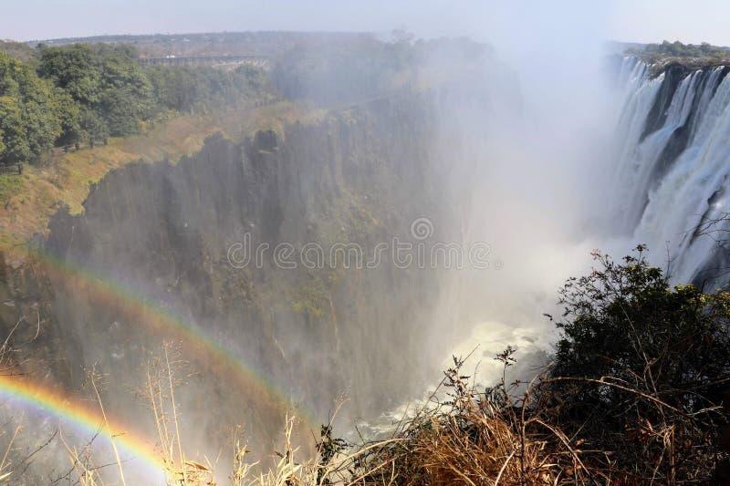 Victoria Falls van de kant van Zambia stock foto