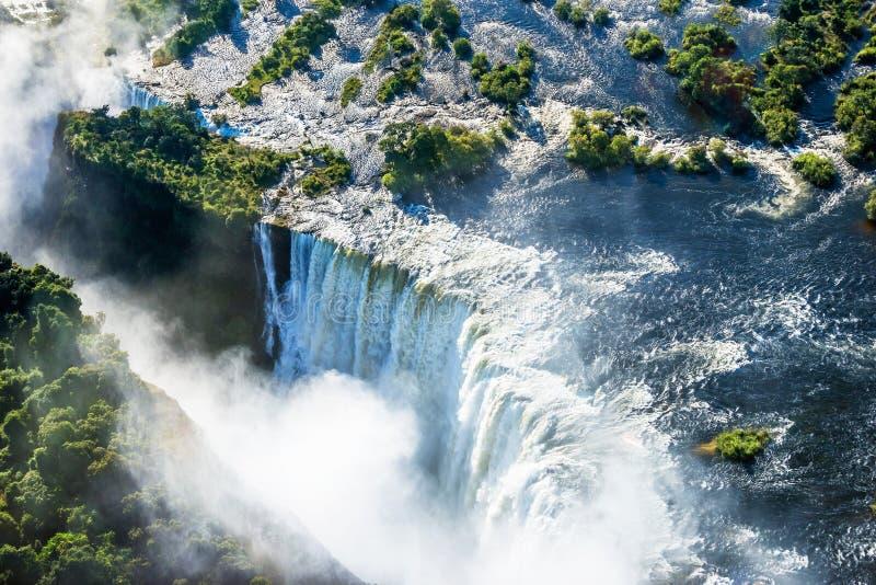 Victoria Falls vattenfall från luften arkivbilder
