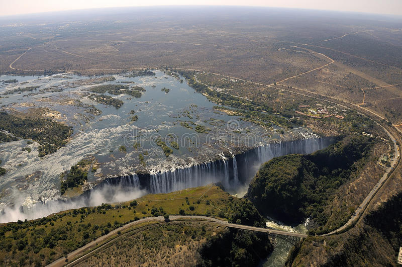 Victoria Falls view from the sky. A picture of Victoria Falls taken from an Helicopter royalty free stock photos