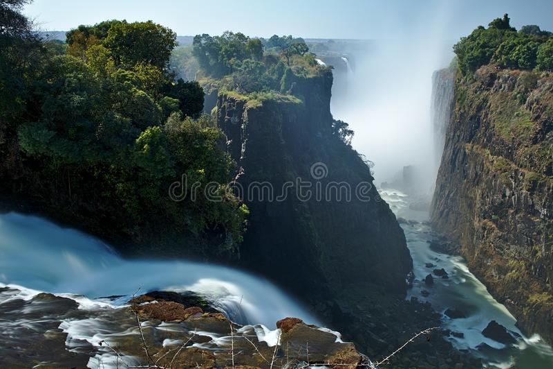 Victoria Falls, Zambezi River, local do patrimônio mundial do Unesco, Zimbabwe África imagens de stock royalty free