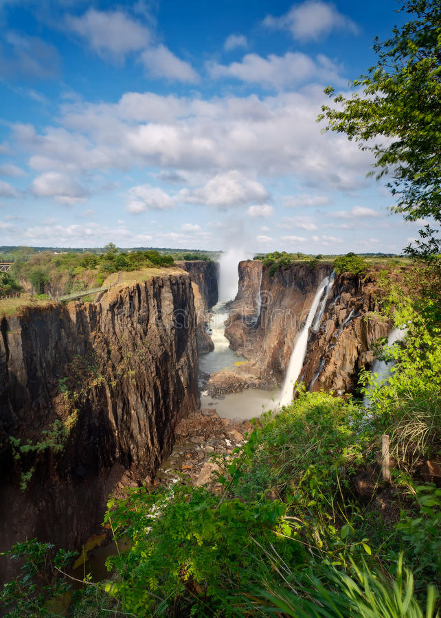 Victoria Falls, Zambia, with blue sky stock photo