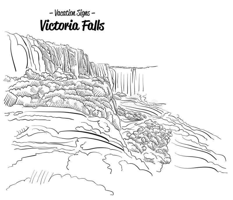 Victoria Falls Zimbabwe Landmark Sketch royaltyfri illustrationer