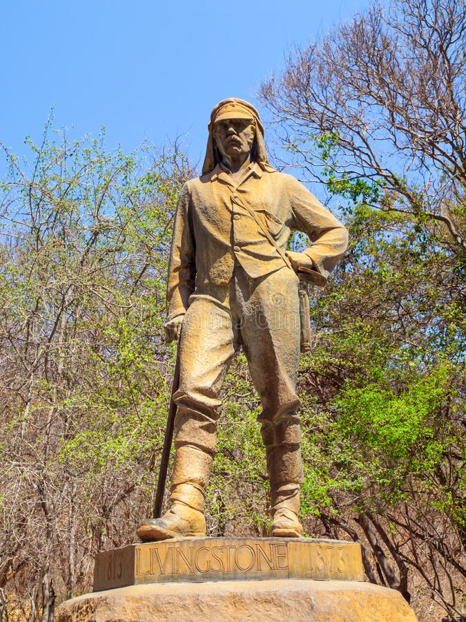 VICTORIA FALLS, ZIMBABWE - OCTOBER 4, 2013: Statue of David Livingstone in Victoria Falls National Park, Zimbabwe.  stock images