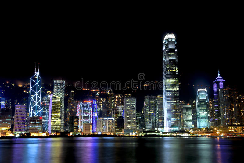 Victoria Habour Night View 02 royalty free stock photography