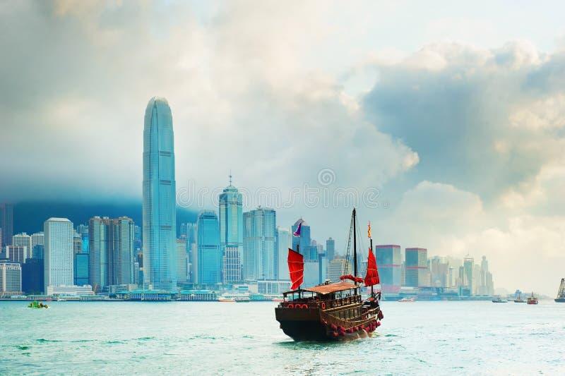 Victoria-Hafen, Hong Kong stockbilder