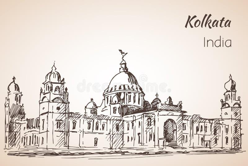 Victoria-hall - croquis de ville indienne Kolkata illustration de vecteur