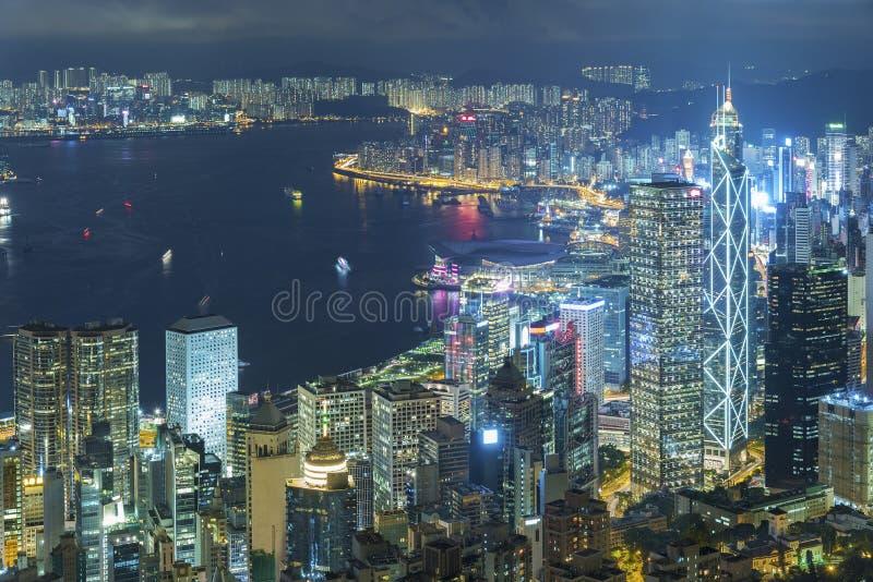 Victoria Harbor of Hong Kong city. At night stock photos