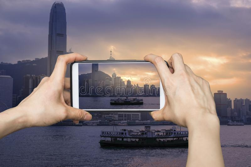 Victoria Harbor in Hong Kong stock photography