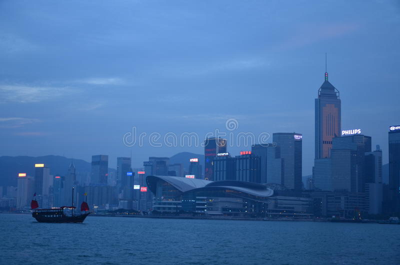 Victoria Harbor Night-Szene stockfoto