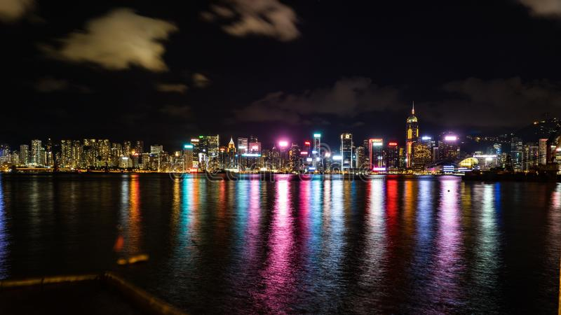Victoria Harbor night view, Hong Kong. royalty free stock photography