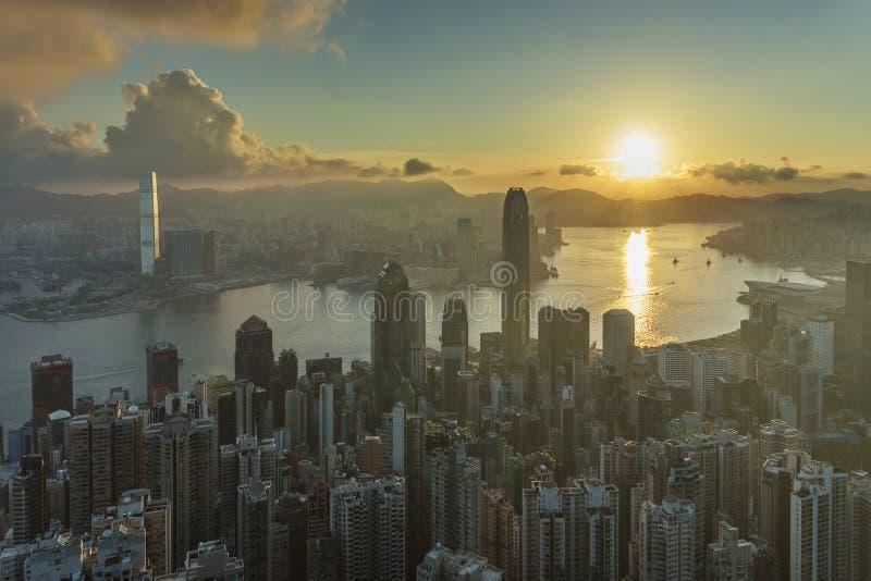 Victoria Harbor van Hong Kong City royalty-vrije stock foto