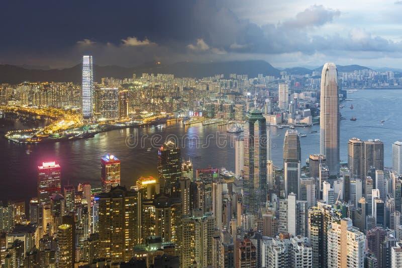 Victoria Harbor von Hong Kong City lizenzfreie stockbilder