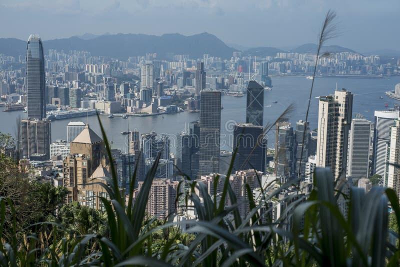 Victoria Harbour en Hong Kong vu de Victoria Peak avec des usines dans le premier plan photo libre de droits