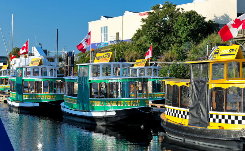 Victoria Harbour Ferry service. VICTORIA, BC - CIRCA MAY 2014 - Victoria Harbour Ferry operates on the city's Inner Harbour and offers regular water taxi service stock photography