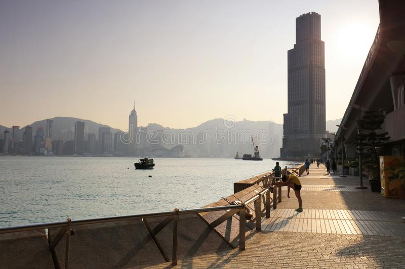 Victoria Harbour in Hong Kong during daytime stock images