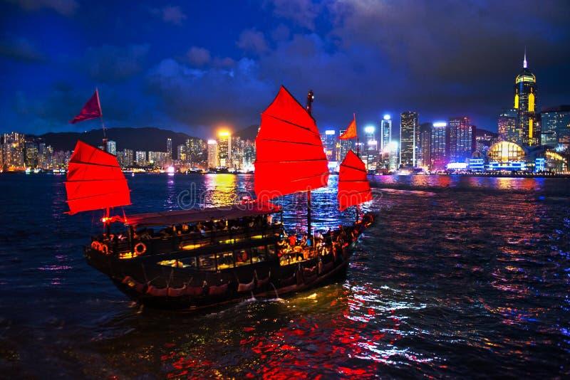 Victoria Harbour Hong Kong Night-Mening royalty-vrije stock foto
