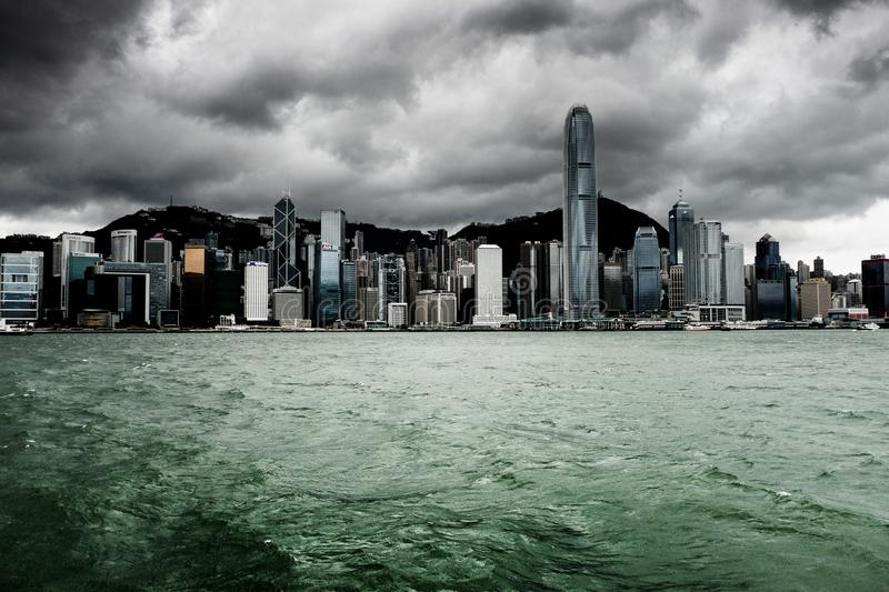 Victoria harbour in Hongkong before the rainstorm stock photo