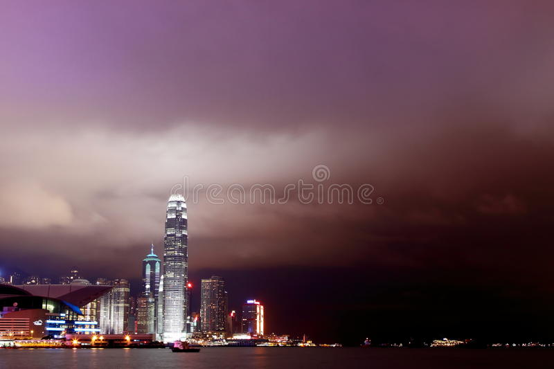 Victoria Harbour at Night royalty free stock photo