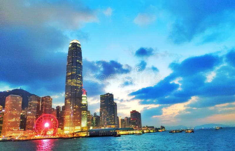 Victoria Harbour night in Hong Kong stock photo