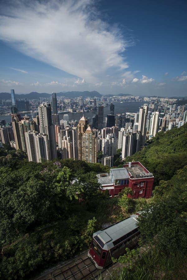 Victoria Harbour som ses från Victoria Peak på den Hong Kong ön arkivfoto