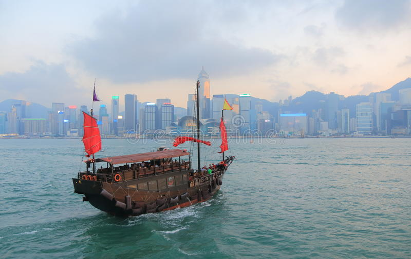 Victoria harbour sunset cityscape Hong Kong stock photo