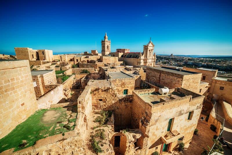 Victoria, isla de Gozo, Malta: visión aérea desde el Cittadella foto de archivo libre de regalías