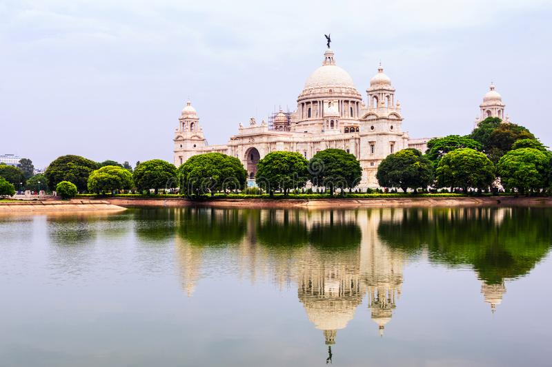 Victoria Memorial Hall in Calcutta, India. Calcutta, India. Landmark in Calcutta, India. With a reflection in a pond. Popular among locals and a touristic stock image