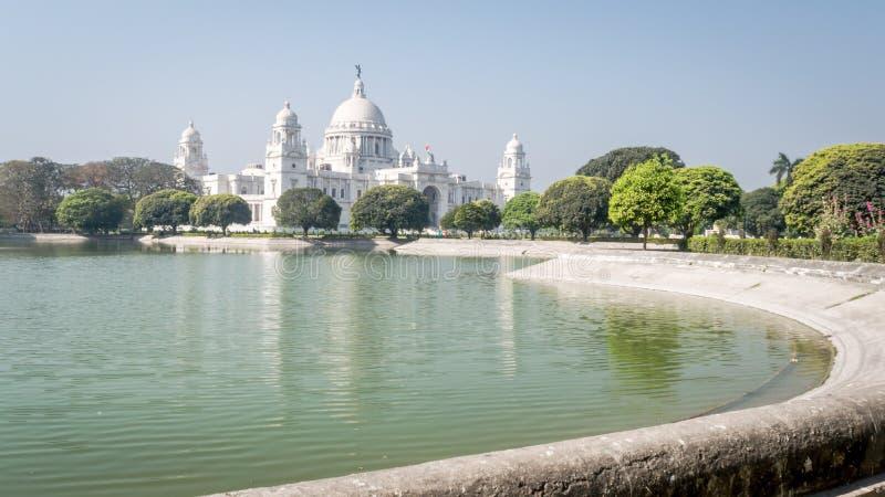 Victoria Memorial ist ein großes Marmorgebäude zum Gedenken an Königin Victoria bei Kolkata, Kalkutta, Westbengalen, Indien stockfotografie