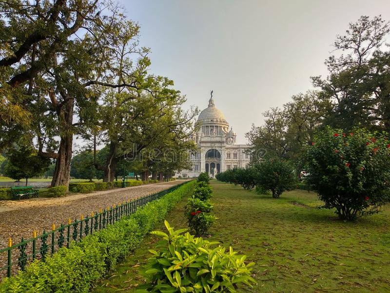 Victoria Memorial in Kolkata, India. which was built between 1906 and 1921. It is dedicated to the memory of Queen Victoria. Victoria Memorial in Kolkata, India royalty free stock images