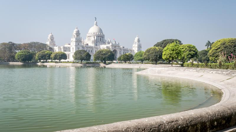 The Victoria Memorial is a large marble building in memory of Queen Victoria at Kolkata, Calcutta, West Bengal, India. The Victoria Memorial is a large marble stock photography