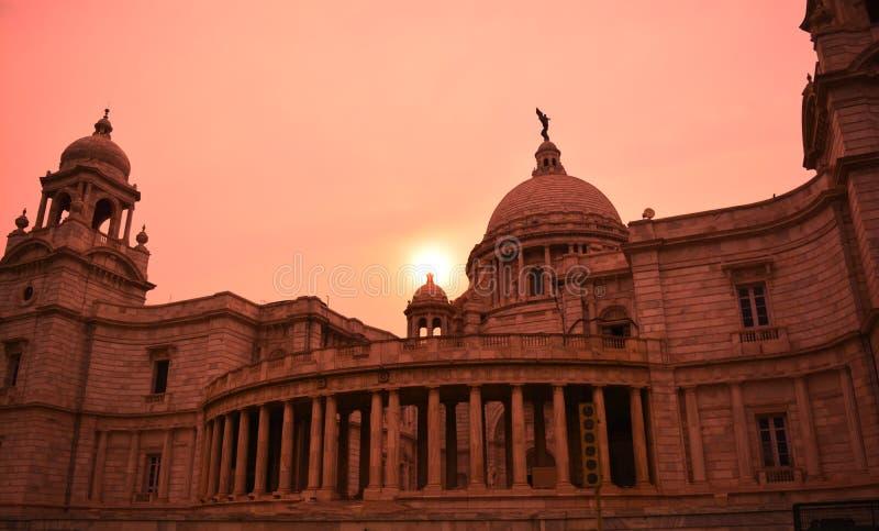 Victoria Memorial Museum no por do sol fotos de stock