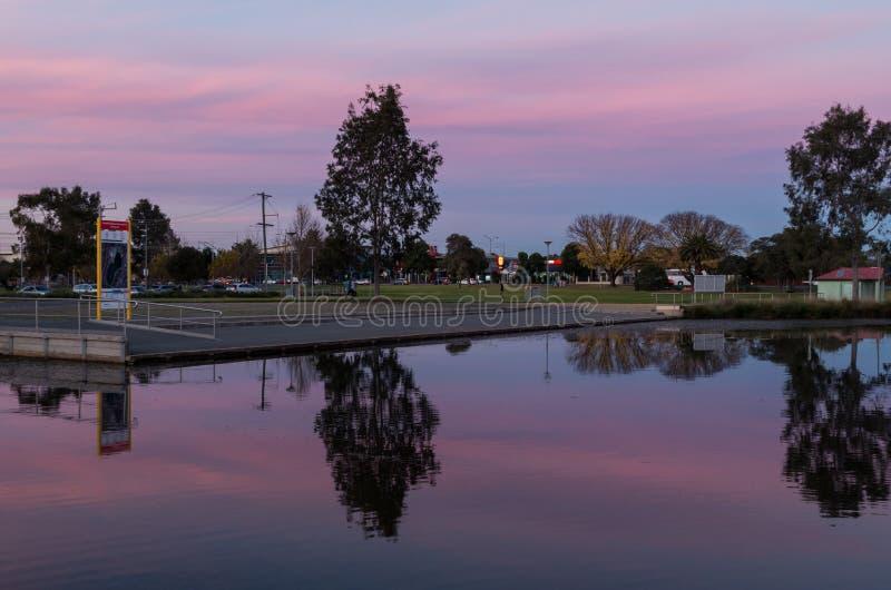 Victoria Park Lake in Shepparton, Australien stockbild