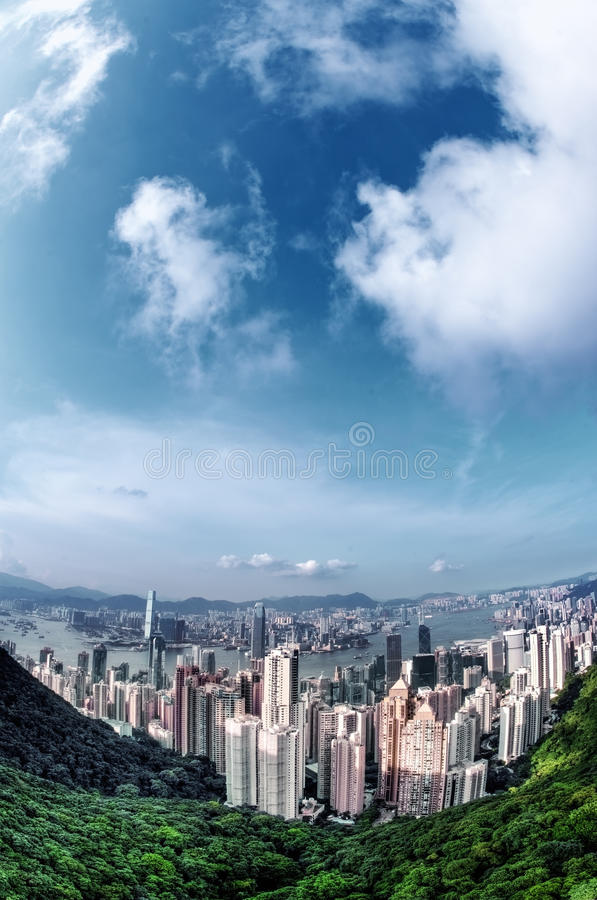 Download Victoria Peak stock photo. Image of city, cloud, aerial - 26456438
